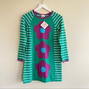 Hanna Anderson Striped Floral Sweater Dress 140
